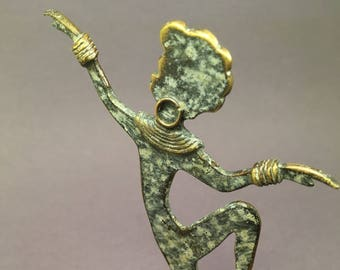 Antique french 1960 vintage jewelry hanger, African dancer sculpture, enamelled copper