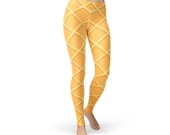 Waffle Printed Leggings, women yoga pants, yoga leggings, yoga pants, food leggings, waffle leggings, waffle print, waffle pants