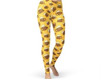 Beer Polka Printed Leggings, women yoga pants, yoga leggings, yoga pants, food leggings, fitness leggings, alcohol leggings, beer print