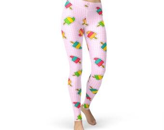Tile Popsicle Leggings, women yoga pants, yoga leggings, yoga pants, food leggings, popsicle print, popsicle pants , ice drop, gym pants