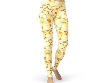 Popcorn Printed Leggings, women yoga pants, yoga leggings, yoga pants, food leggings, popcorn print, popcorn pants, food costume