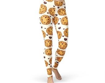 Choco Chip Cookie Leggings, women yoga pants, yoga leggings, yoga pants, food leggings, choco chips leggings, chocolate chips print
