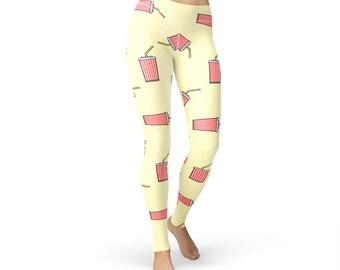 Soft Drinks Print Leggings, women yoga pants, yoga leggings, yoga pants, food leggings, soft drinks, cola leggings, soft drink print