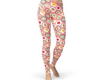 Pink Sushi Leggings, women yoga pants, yoga leggings, yoga pants, food leggings, zumba pants, zumba leggings, sushi print