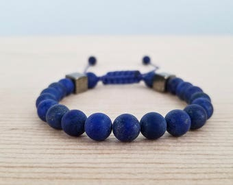 Lapis Lazuli & Pyrite men bracelet