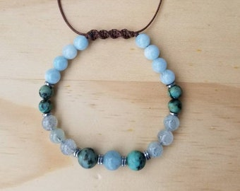 Aquamarine & African turquoise  beaded bracelet