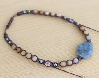 Labradorite & Yellow Jade macrame necklace