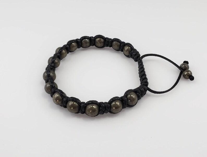 Pyrite men macrame braceletbrownblack