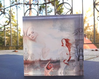 """oil painting """"Mirror, Mirror"""" as Print in acrylic block 15 signed specimens"""