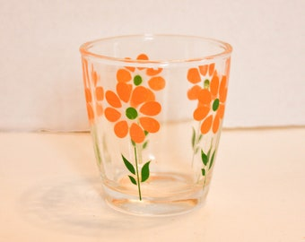 Vintage Juice Glass Orange Flowers Cocktail Glass Orange Green Kitchen Decor Retro Glassware