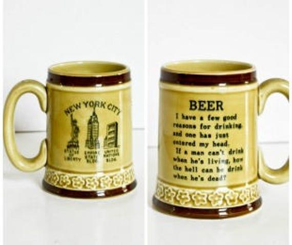 Vintage New York City Beer Stein Poem 60s Ceramic Mug Retro Bar Barware Beer Lover Nyc