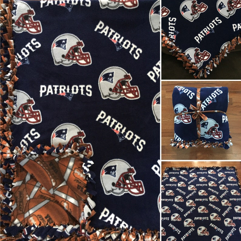 77e495c50 LARGE PATRIOTS NFL Handmade Fleece Tie Blanket 55x65 New