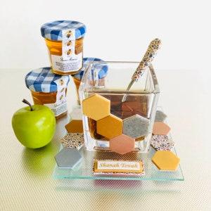 Rosh HaShanah Dish for Honey with Golden Honey Bee Judaica Jewish New Year
