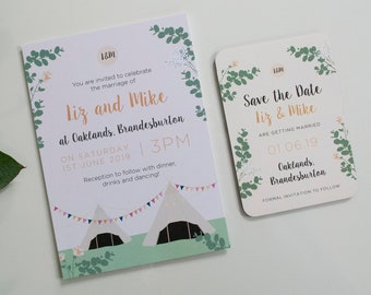 Tipi Wedding Invitation | Hand-drawn | Pretty | Boho | Bunting | Eucalyptus | Rose | Pastel | Personalised | SAMPLE