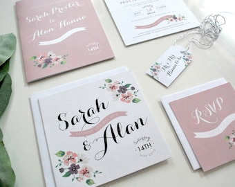 Pretty Floral Wedding Invitation | Hand-drawn | Flowers | Summer | Purple | Pink | Peonies | Garden | Personalised | SAMPLE