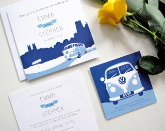 Vintage Campervan Wedding Invitation | Hand-drawn | Retro | Silhouette | Blue | VW | Landscape | Personalised | SAMPLE