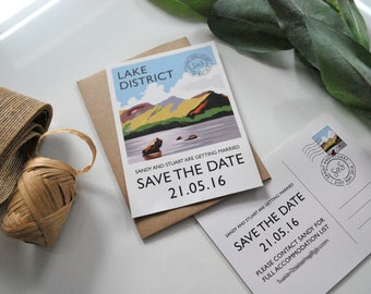 Lake District Save the Date Card | Hand-drawn | Vintage | Postcard Style | Monogrammed | Personalised | SAMPLE