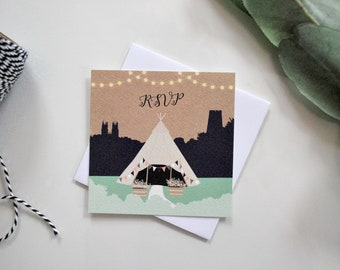 Tipi RSVP Card | Hand-drawn | Pretty | Boho | Bunting | Silhouette | Personalised | Printable | Download