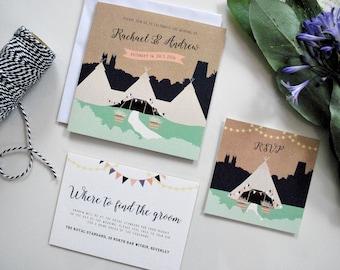 Tipi Wedding Invitation | Hand-drawn | Pretty | Boho | Bunting | Silhouette | Personalised | Printable | Download