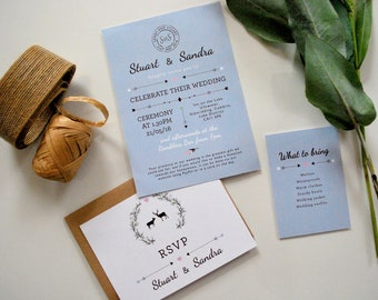 Woodland Wedding Invitation | Hand-drawn | Stag and Doe | Rustic | Forest | Stamp | Personalised | SAMPLE