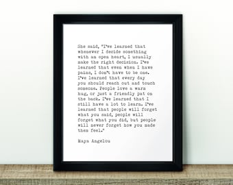"Printable artwork – 'I've learned... Maya Angelou' – Black and White Typographic Print – 8x10"" (203x254mm)"