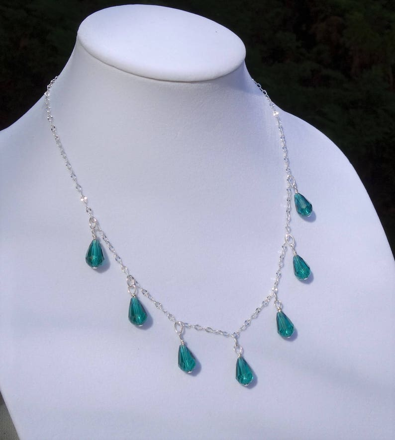 Emerald Green Necklace Green and Silver Necklace Bib Necklace Statement Necklace Green Crystal Necklace Teardrop Necklace Fire Polished