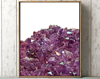 Amethyst Crystal Printable Art Print, Purple Crystal Print, Crystal Wall Art, Boho Wall Art, Rock Print, Mineral Art, Mineral Photography