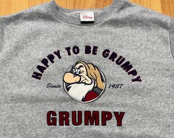 Vintage Happy to be Grumpy Crewneck Sweatshirt Size Medium Quality Embroidered Graphic