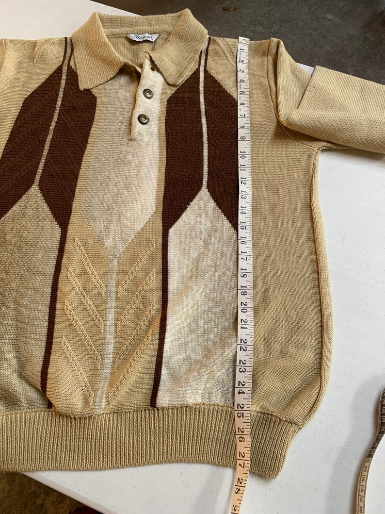 Vintage Men\u2019s Bergati 3 Button Sweater Brown Tan Cream Size Medium EUC Excellent Condition