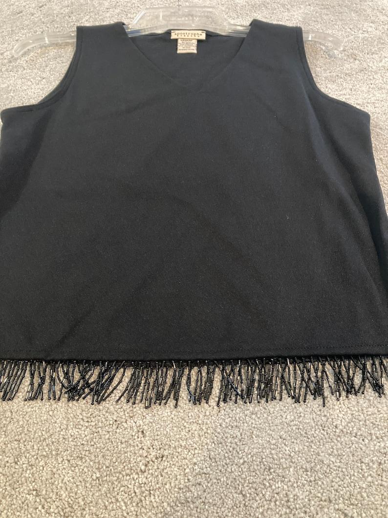 10-12 black 2 piece set Slacks Top fringe Spandex NWT vintage Apostrophe Women\u2019s size M