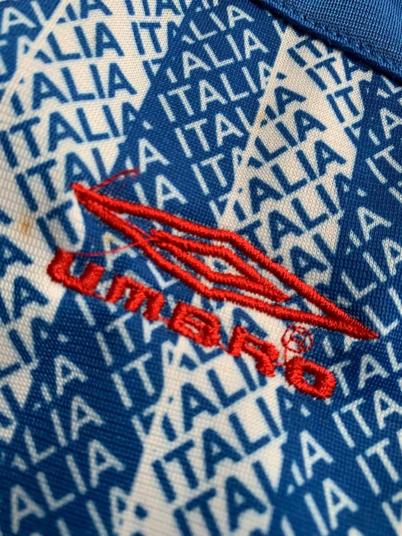 Vintage Umbro Italia Track Jacket Allover Print Logo Aqua Teal Blue Color Size Medium