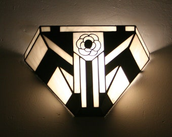 "Apply Tiffany, Art Deco Tiffany stained glass Applique, Applique wall ""Camellia"""