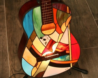 "Tiffany Lamp, Tiffany Lamp, Tiffany Applique...??? Tiffany ""N 10"" stained glass guitar lamp"