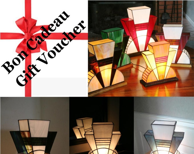 """Featured listing image: Gift: Tiffany's custom Art Deco Glass Lamp """"At the Last Moment"""""""