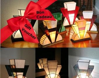 "Gift: Tiffany's custom Art Deco Glass Lamp ""At the Last Moment"""
