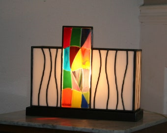 "Lamp Tiffany stained glass Tiffany, Contemporary Art, table lamp ""Waves"""