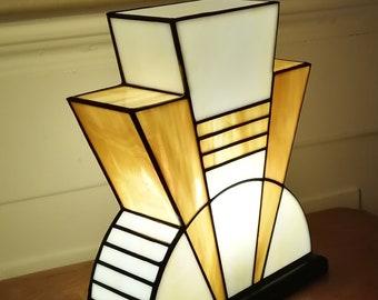 "Tiffany ""Caramel"" Art Deco Glass Lamp (TM)"