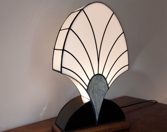"""Tiffany Stained Glass Art Deco Lamp """"Palmette 1919 Grey"""""""