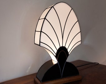 """Art Deco Lamp Stained Glass Tiffany """"Palmette 1919 Black"""""""