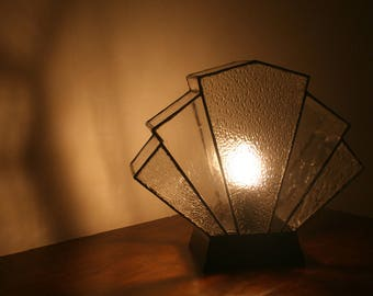 "Tiffany lamp Art Deco table lamp ""Flabellum transparency"", stained glass Tiffany lamp"