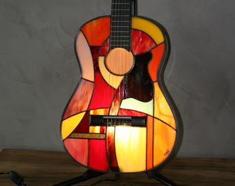 "Lamp Tiffany, Tiffany, Tiffany Wall lamp? Guitar stained glass Tiffany lamp ""The Andalusian"""
