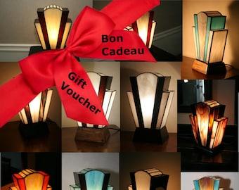 "Gift: Tiffany Custom Art Deco Glass Lamp ""At the Last Moment"" ""Nude"""