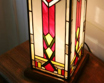 "Tiffany Lamp, Art Deco Lamp, Tiffany stained glass, ""Column"" lamp TS H. 28 CM"