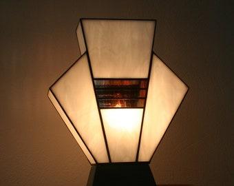 "Tiffany Art Deco Glass Lamp ""White Simple"""