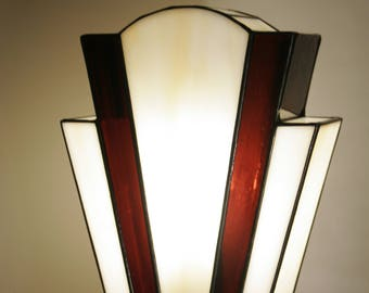 "Tiffany Lamp, Art Deco Lamp, Tiffany stained glass, ""Nude Chocolate"" lay lamp"