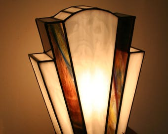 "Tiffany lamp, Art Deco stained glass Tiffany lamp, table ""Nude Amethyst"" lamp"