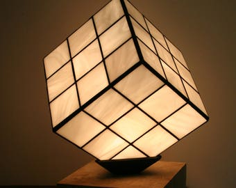 """Lamp Tiffany stained glass Tiffany, Contemporary Art, table lamp """"RuVik's Cube for Blonde!"""""""