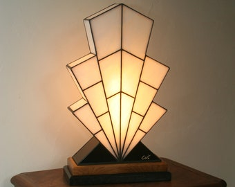 "Very large Tiffany Lamp, Art Deco Lamp, Tiffany stained glass, ""1921"" lamp"