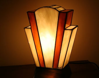 "Tiffany lamp, Art Deco stained glass Tiffany lamp, table ""Nude Caramel"" lamp"