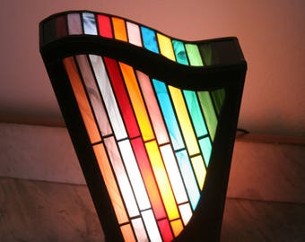 "Tiffany lamp contemporary art, Tiffany stained glass, ""Harpège"" posing lamp"